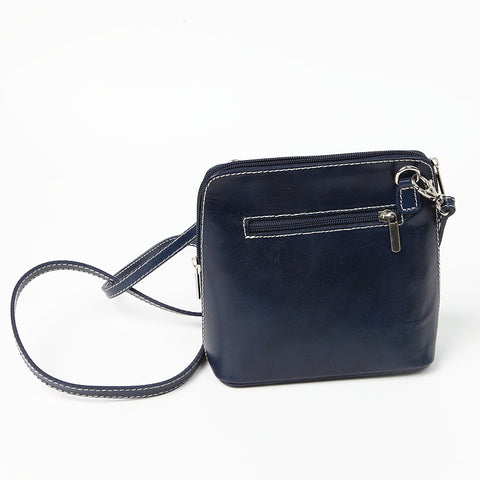 Genuine Leather Small Shoulder Bag in Dark Navy