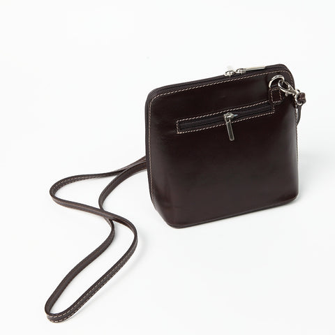 Genuine Leather Small Shoulder Bag in Dark Brown
