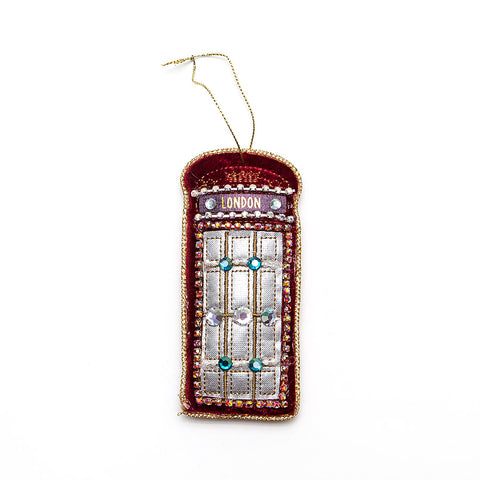 Gisela Graham Red Velvet/Jewel Telephone Box