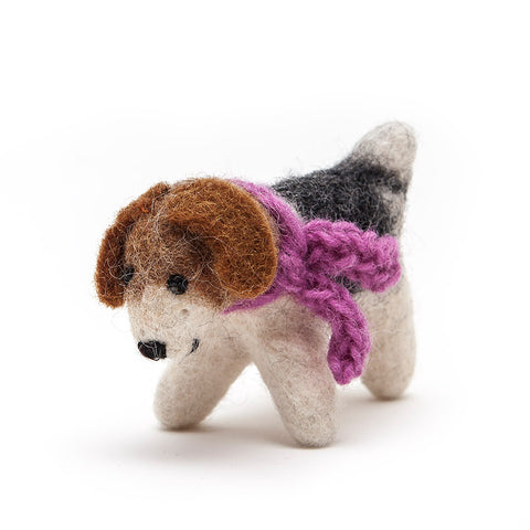 Amica Fair Trade Medium Felt Terrier Dog with Purple Scarf