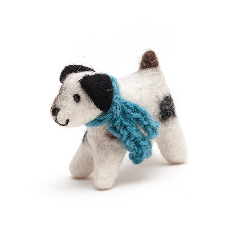 Amica Fair Trade Medium Felt Jack Russell Dog with Blue Scarf