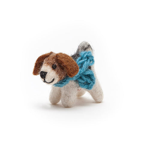 Amica Mini Fair Trade Felt Terrier Dog with Blue Scarf