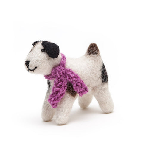 Amica Fair Trade Medium Jack Russell Dog with Purple Scarf