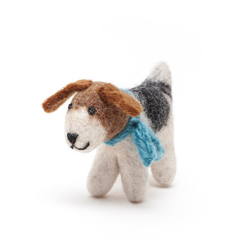 Amica Fair Trade Felt Medium Fox Terrier Dog with Blue Scarf