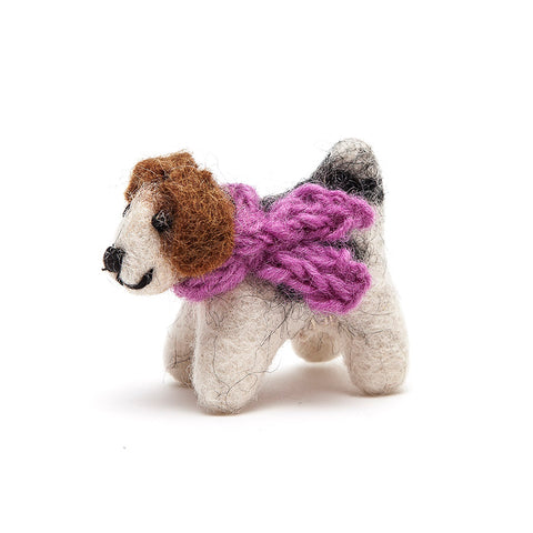 Amica Fair Trade Mini Felt Fox Terrier Dog with Purple Scarf