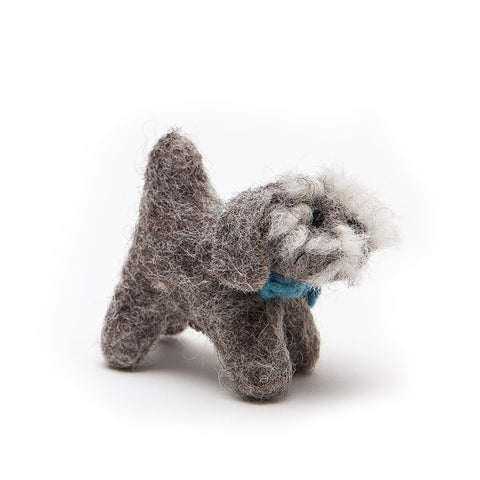 Amica Fair Trade Mini Felt Schnauzer with Blue Scarf