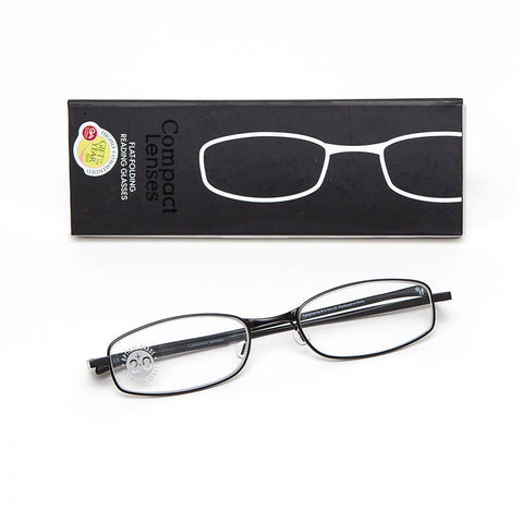 Compact Lenses Super Slim Jet Black Reading Glasses