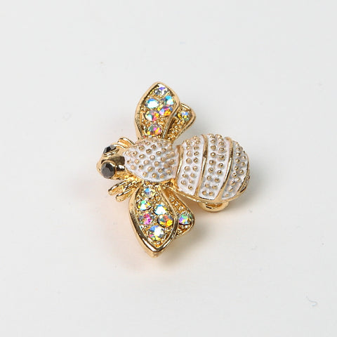 Sparkly AB Crystal Gold/White Finish Bee Brooch