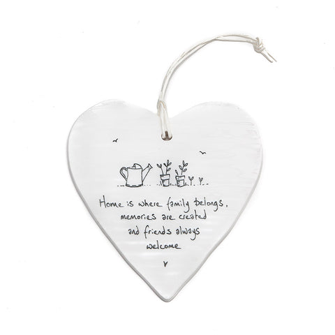 East of India Round Ceramic Heart - Home is where family.....