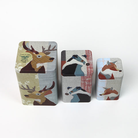Set of 3 Magpie Beasties Storage Tins from Cubic