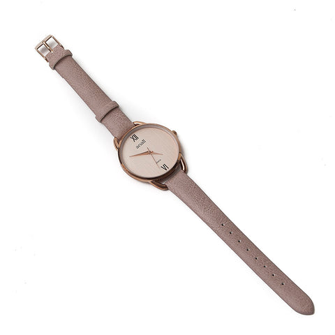Anaii 'Malia' Ladies Rose Gold Watch with Pale Taupe Strap