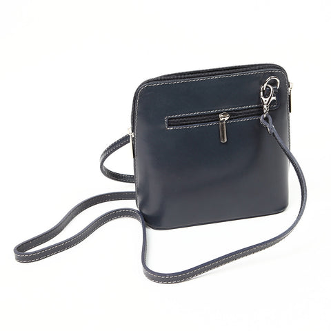 Genuine Leather Small Shoulder Bag in Black