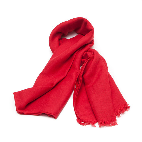 Plain Bright Red Scarf
