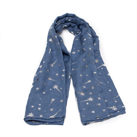 Denim Blue Scarf with Silver Shooting Stars