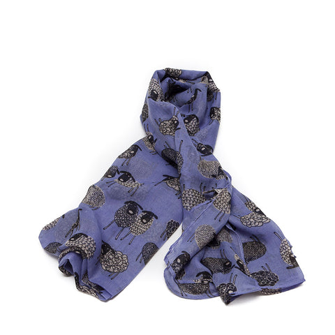Lilac Scarf with Quirky Sheep Design