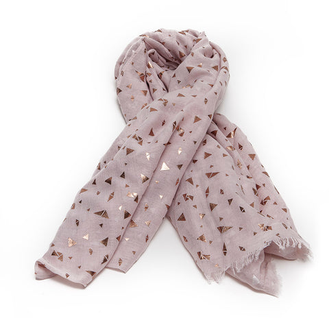 Dark Cream Scarf with Rose Gold Triangles