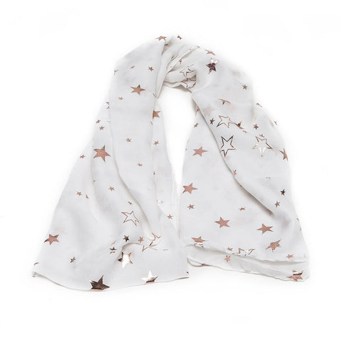 White Scarf with Gold Star Mix