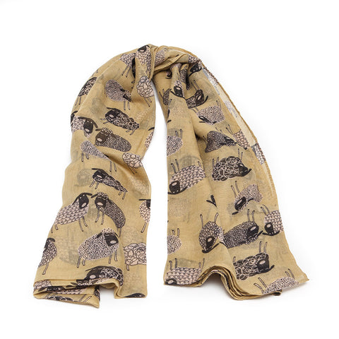 Banana Yellow Scarf with Quirky Sheep Design