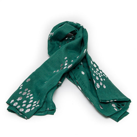 Sea-Green Scarf with Swimming Silver Fishes