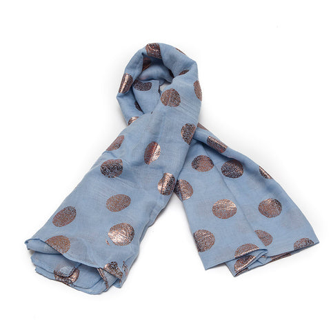 Soft Blue Scarf with Rose Gold Spots