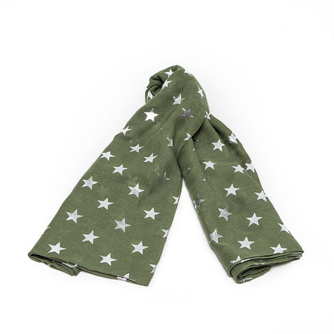 Moss Green Scarf with Silver Stars