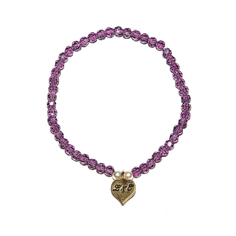 Lovett Purple Bead Stretch Tennis Bracelet