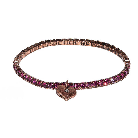 Lovett Raspberry Swarovski Crystal Stretch Bracelet