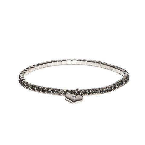Lovett Gun-Metal Swarovski Crystal Stretch Bracelet