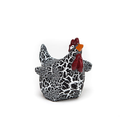 Doris the Quirky Hen from Naasgransgarden in black and white crackled finish.