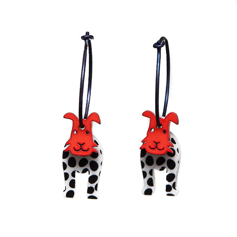 Lene Lundberg K-Form Black and White Dog with Red Face Earrings