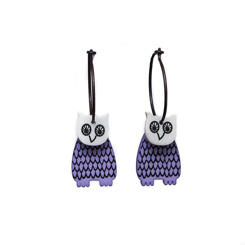 Lene Lundberg K-Form Lilac Owl Earrings