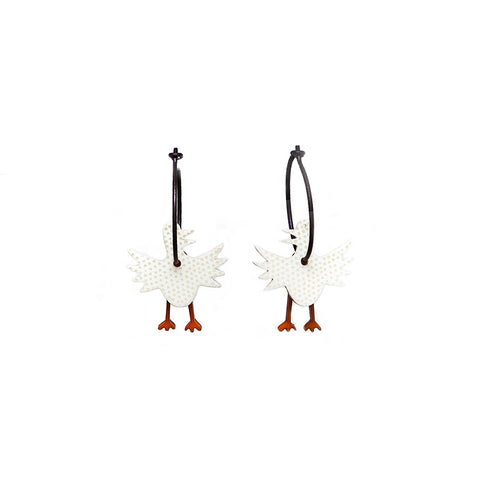 Lene Lundberg K-Form White Bird Earrings