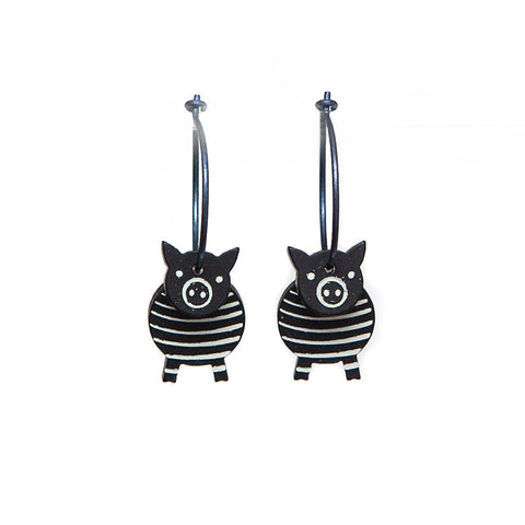 Lene Lundberg K-Form Black Stripey Pig Earrings