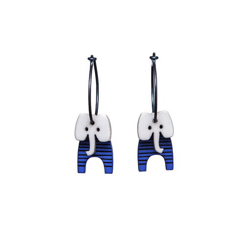 Lene Lundberg K-Form Blue Stripey Elephant Earrings