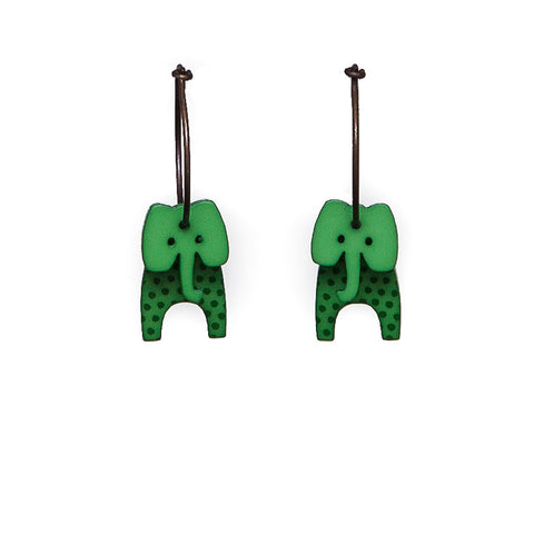 Lene Lundberg K-Form Bright Green Stripey Elephant Earrings