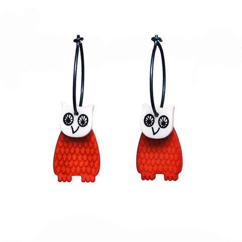 Lene Lundberg K-Form Orange Owl Earrings