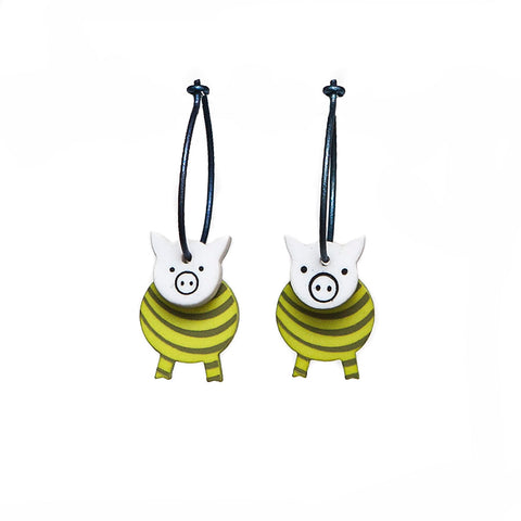 Lene Lundberg K-Form Yellow Stripey Pig Earrings