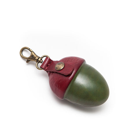 Paulette Rollo Large Green/Cognac Leather Acorn Purse
