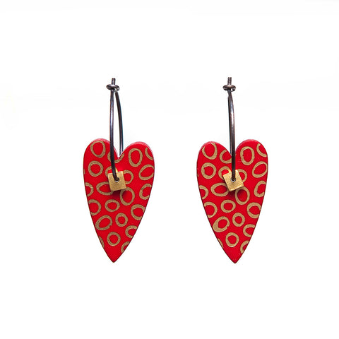 Lene Lundberg K-Form Red Heart Earrings