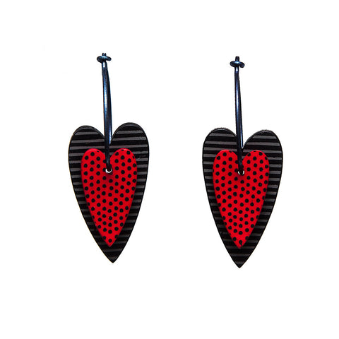Lene Lundberg K-Form Red/Black Double Heart Earrings