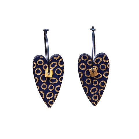 Lene Lundberg K-Form Navy and Gold Heart Earrings