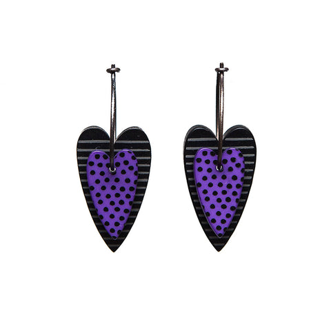 Lene Lundberg K-Form Purple and Black Double Heart Earrings