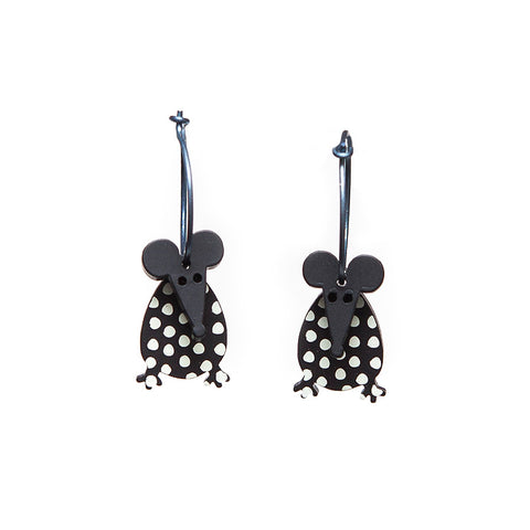 Lene Lundberg K-Form Black and White Spotty Mouse Earrings