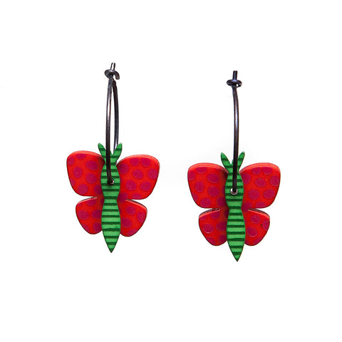 Lene Lundberg K-Form Red/Green Butterfly Earrings