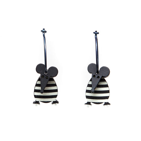 Lene Lundberg K-Form Black and White Stripey Mouse Earrings