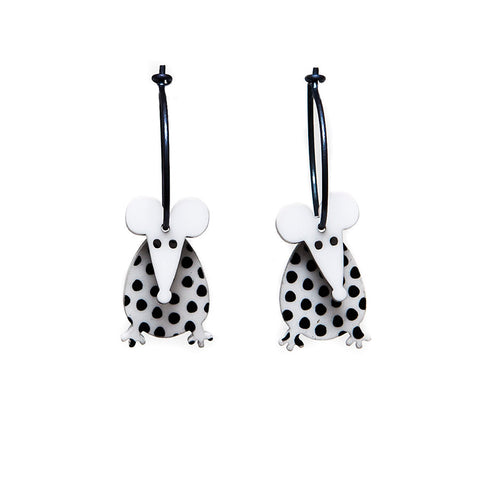 Lene Lundberg K-Form Grey/Black Spotty Mouse Earrings