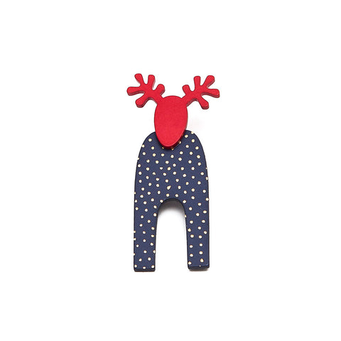 Lene Lundberg Navy and Red Reindeer Brooch