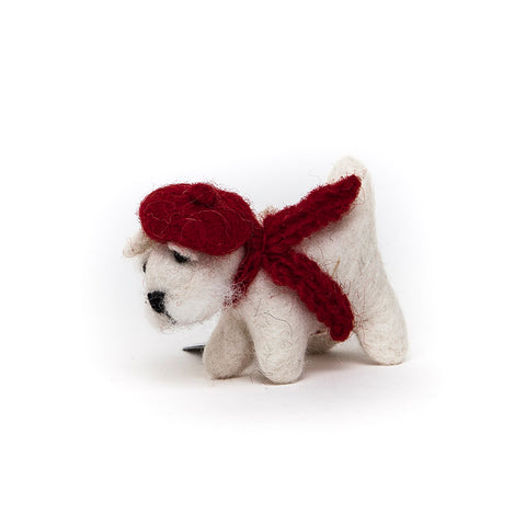 Amica Fair Trade Felt White Westie with Tam O'Shanter