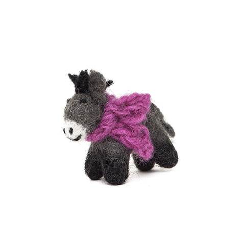 Amica Fair Trade Felt Mini Donkey with Purple Scarf