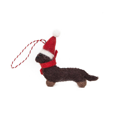 Amica Fair Trade Felt Dachshund Christmas Decoration